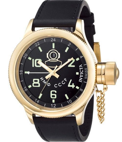 701d72580f5f Invicta 7109 Firma Buceador Ruso Suizo Gmt Fecha Cuero Negro Reloj ...