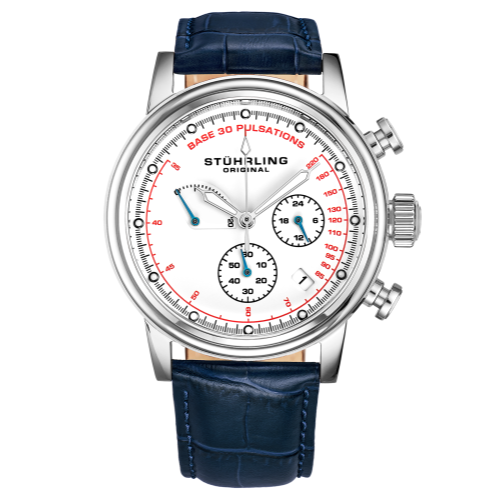 Stuhrling 895 04 Chronopulse Chronograph Pulsometer Date Blue